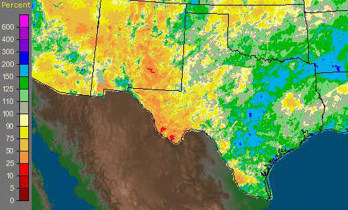 Rainfall Central Texas, 6 months ending 8 March 2010