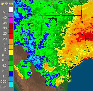September/October rainfall 2009, in inches